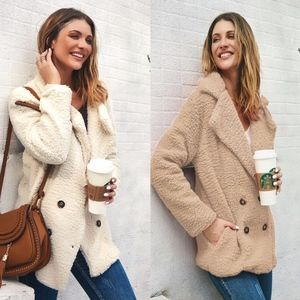 Button Detail Teddy Furry Jacket - TAUPE